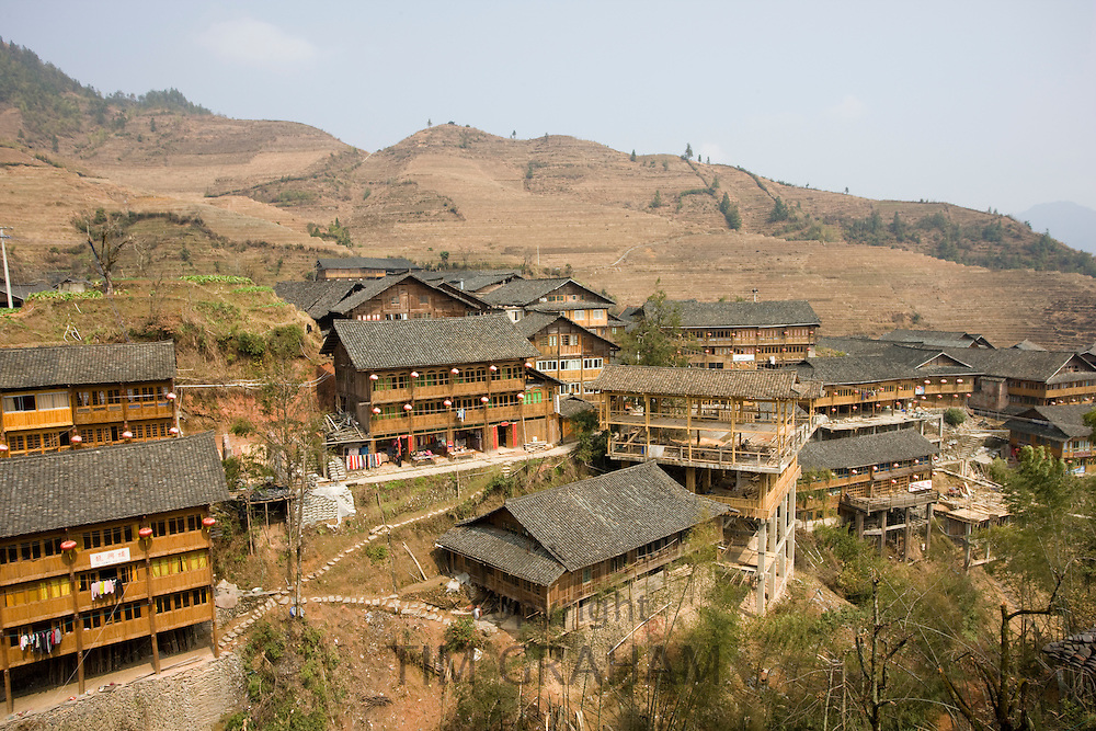 Traditional homes in the mountain village of Ping An, Longsheng, near Guilin, China
