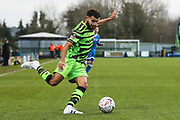 Forest Green Rovers Dominic Bernard(3) on the ball during the The FA Cup match between Forest Green Rovers and Carlisle United at the New Lawn, Forest Green, United Kingdom on 30 November 2019.