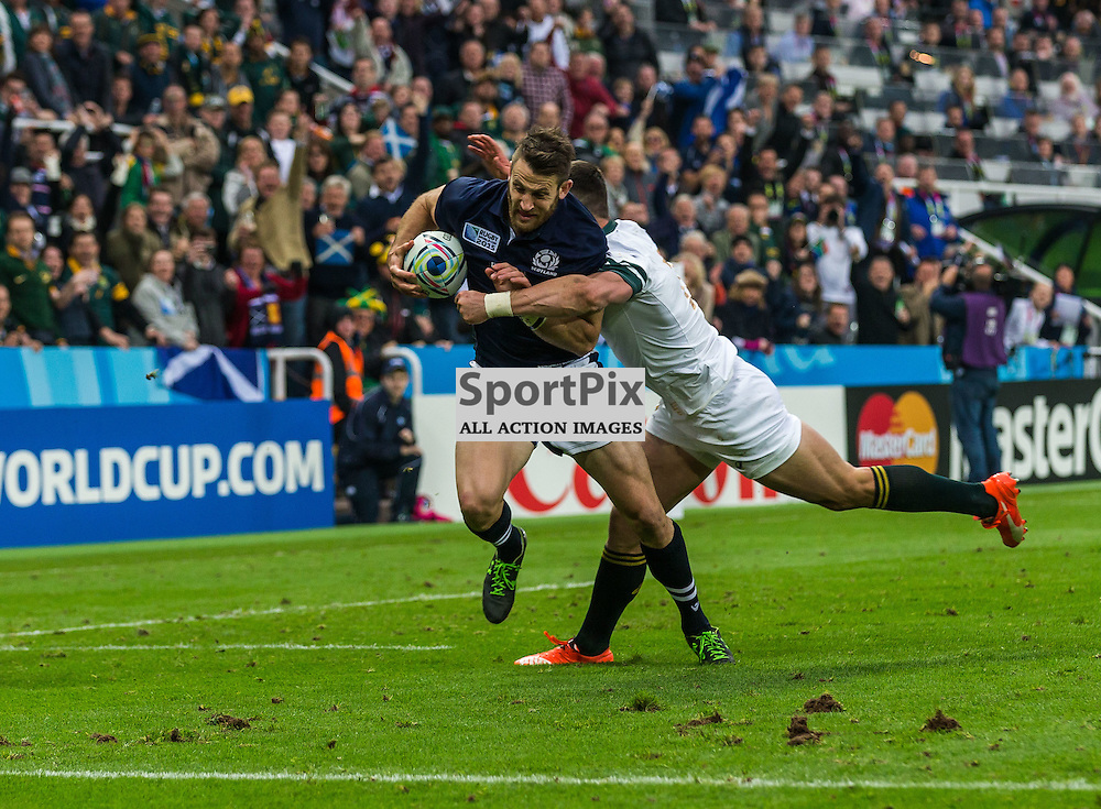 Tommy Seymour scores during the Rugby World Cup match between Scotland and South Africa (c) ROSS EAGLESHAM | Sportpix.co.uk