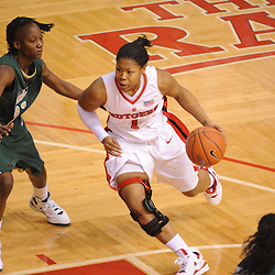 Jan 31, 2009; Piscataway, NJ, USA; Rutgers guard Khadijah Rushdan (1) drives to the basket against South Florida center Jessica Lawson (23) during the second half of South Florida's 59-56 victory over Rutgers in NCAA women's college basketball at the Louis Brown Athletic Center
