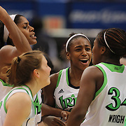 Notre Dame players celebrate victory after the Connecticut V Notre Dame Final match won by Notre Dame 61-59 during the Big East Conference, 2013 Women's Basketball Championships at the XL Center, Hartford, Connecticut, USA. 11th March. Photo Tim Clayton