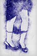 Digitally enhanced pen sketch image of a A young Caucasian female model of 26 with her Knickers around her ankles only her feet are displayed so there is only a hint to nudity