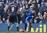 Football - 2016 / 2017 Premier League - Chelsea vs. WBA<br /> <br /> Allan Nyom of West Bromwich Albion takes the ball from Eden Hazard of Chelsea at Stamford Bridge.<br /> <br /> COLORSPORT/DANIEL BEARHAM