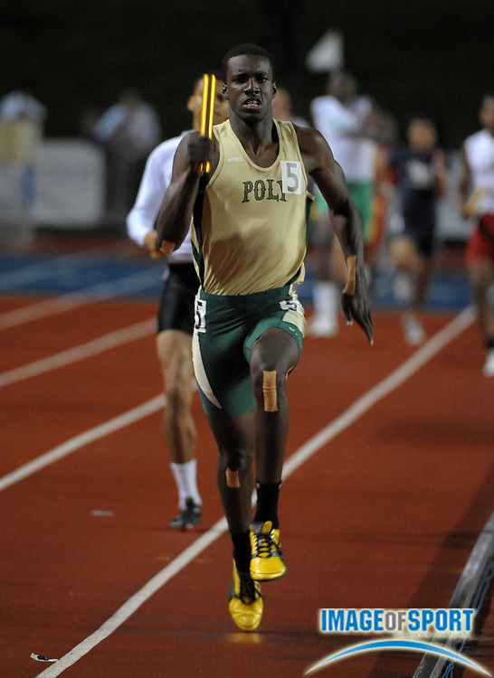 Jun 4, 2011; Clovis, CA, USA; Shaquille Howard runs the anchor leg on the Long Beach Poly 4 x 400m relay that won in 3:12.44 in the 2011 CIF State Championships at Veterans Memorial Stadium. Mandatory Credit: Kirby Lee/Image of Sport-US PRESSWIRE