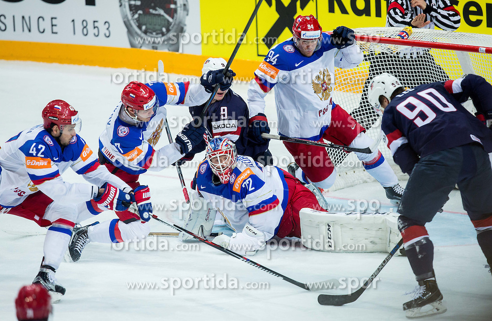 Anders Lee of USA ® vs Artyom Anisimov of Russia, Dmitri Kulikov of Russia, Sergei Bobrovski of Russia and Andrei Mironov of Russia during Ice Hockey match between USA and Russia at Semifinals of 2015 IIHF World Championship, on May 16, 2015 in O2 Arena, Prague, Czech Republic. Photo by Vid Ponikvar / Sportida