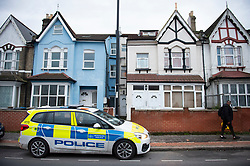 ©Licensed to London News Pictures 16/01/2020<br /> Croydon, UK. The front door to the flat is white and set back down the walk way on the right. Metropolitan Police have launched a murder investigation after the body of 60 year old Krasimir Kartikov was found with multiple injuries on Monday 13th January at his flat in Croydon, South East London. Police are still on scene. Photo credit: Grant Falvey/LNP