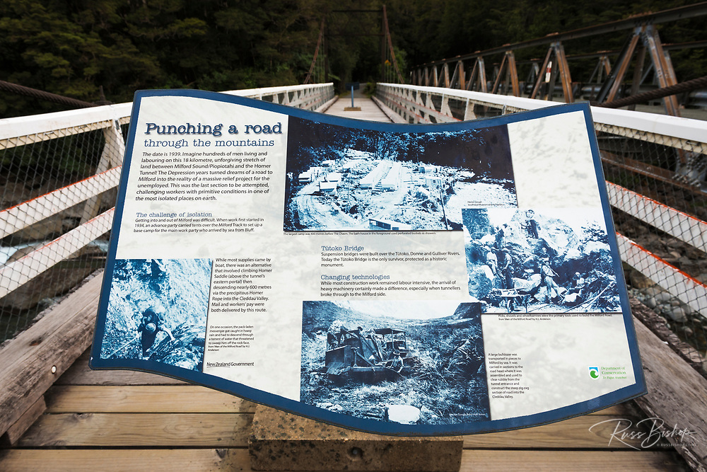 Interpretive sign on the Tutoko Bridge, Fiordland National Park, South Island, New Zealand