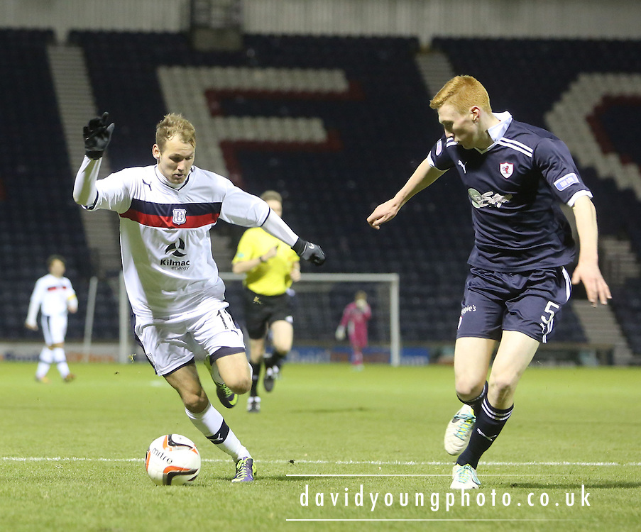 Martin Boyle runs at David Bates - Raith Rovers v Dundee, SPFL Reserve League at Starks Park<br /> <br />  - &copy; David Young - www.davidyoungphoto.co.uk - email: davidyoungphoto@gmail.com