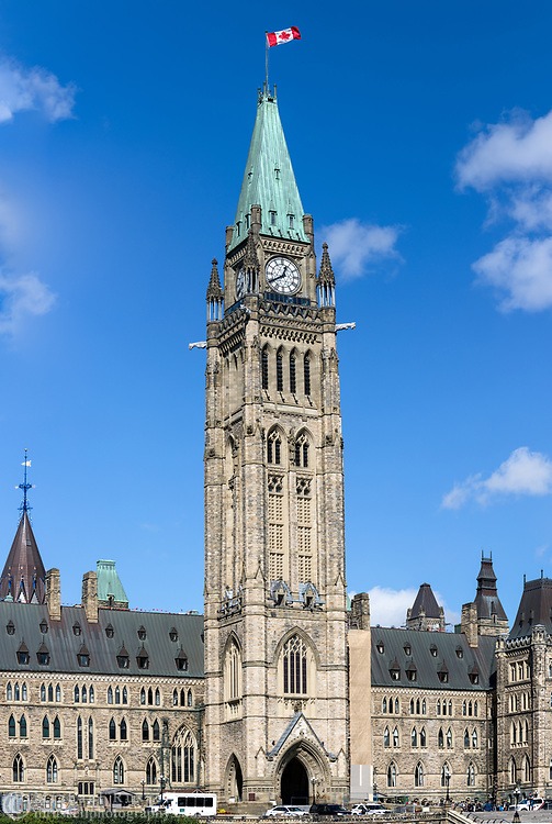 The Peace Tower at the Parliament Building of Canada (Centre Block) in Ottawa, Ontario, Canada. The Peace Tower is 92.2 m (302 ft ) in height and was completed in 1927 after the original tower (Victoria Tower) burned down with the rest of the original Centre Block building in 1916.