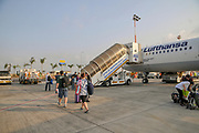 passengers boarding a Lufthansa Airbus A321 plane at Ben-Gurion international airport, Israel