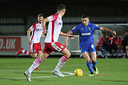 AFC Wimbledon midfielder Anthony Hartigan (8) dribbling during the EFL Trophy group stage match between AFC Wimbledon and Stevenage at the Cherry Red Records Stadium, Kingston, England on 6 November 2018.