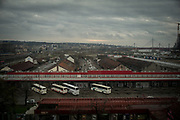 A panoramic view of the old Belgrade train station wearhouses now used by migrant as shelter. Belgrade Serbia. March 19th, 2017. Federico Scoppa/CAPTA