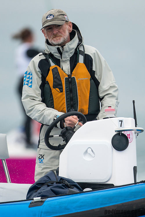 2012 Olympic Games London / Weymouth<br /> Match Race day 3 round robin<br /> Brad Dellenbaugh Coach US Sailing Match Race Team