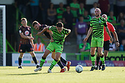 Mathew Stevens of Forest Green Rovers under pressure during the EFL Sky Bet League 2 match between Forest Green Rovers and Stevenage at the New Lawn, Forest Green, United Kingdom on 21 September 2019.