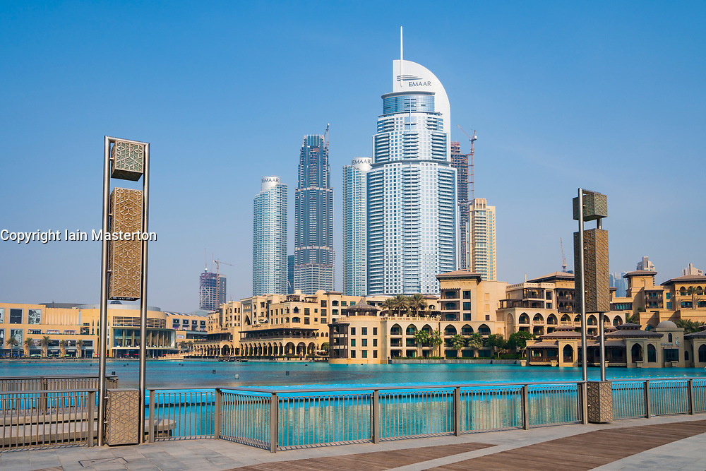 View of Dubai Mall, The Palace Hotel and apartment building to rear in Downtown Dubai, UAE, United Arab Emirates