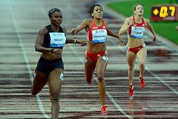 30.08.2012, Stadion Letzigrund, Zuerich, SUI, Leichtathletik, Weltklasse Zurich 2012, im Bild, Aleen Bailey (L, JAM), Mujinga Kambundji (M, SUI) und Michelle Cueni (R, SUI) 200m Frauen // during Athletics World Class Zurich 2012 at Letzigrund Stadium, Zurich, Switzerland on 2012/08/30. EXPA Pictures © 2012, PhotoCredit: EXPA/ Freshfocus/ Andy Mueller..***** ATTENTION - for AUT, SLO, CRO, SRB, BIH only *****