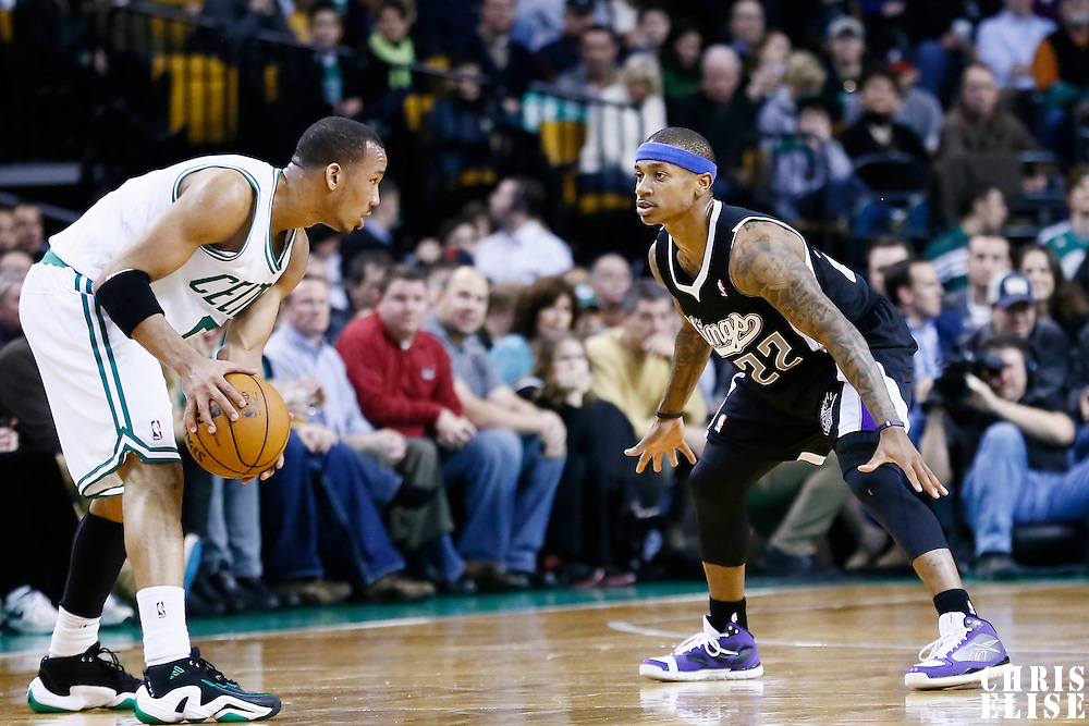 30 January 2013: Sacramento Kings point guard Isaiah Thomas (22) defends on Boston Celtics point guard Avery Bradley (0) during the Boston Celtics 99-81 victory over the Sacramento Kings at the TD Garden, Boston, Massachusetts, USA.