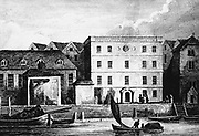 The Steel Yard in Thames Street, headquarters of the Hanse Merchants or Esterlings in London, England as it appeared in 1667. Hanseatic League of about 100 north  German towns and trading interests important in northern Europe from 13th century.  Less powerful from 15th century and last Diet (assembly) met 1669.  Engraving