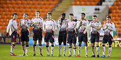 BLACKPOOL, ENGLAND - Wednesday, December 18, 2013: Liverpool players look on during the penalty shoot-out against Blackpool during the FA Youth Cup 3rd Round match at Bloomfield Road. L-R: Pedro Chirivella, captain Conor Randall, Jordan Williams, Joe Maguire, Sheyi Ojo, Sergi Canos, Jerome Sinclair, Jordan Rossiter, Harry Wilson. (Pic by David Rawcliffe/Propaganda)