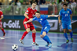 Daniil Davydov of Russia and Aleksandr Dovgan of Kazakhstan during futsal match between National teams of Kazakhstan and Russia at Day 5 of UEFA Futsal EURO 2018, on February 3, 2018 in Arena Stozice, Ljubljana, Slovenia. Photo by Urban Urbanc / Sportida