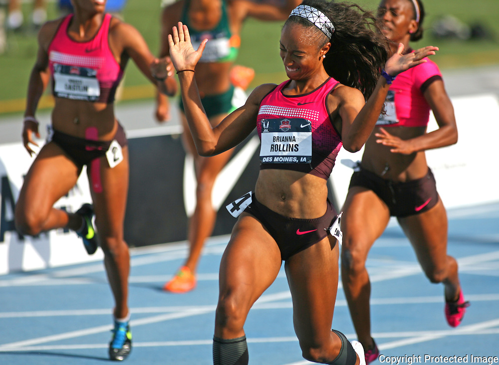 ROLLINS - 13USA, Des Moines, Ia. Brianna Rollins was ecstatic with her American Record hurdles win.  Photo by David Peterson