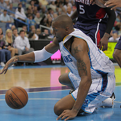 05 November 2008:  New Orleans Hornets forward David West (30) lunges after a loose ball as Atlanta Hawks forward Josh Smith (5) watches during a 87-79 victory by the Atlanta Hawks over the New Orleans Hornets at the New Orleans Arena in New Orleans, LA..