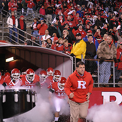 Nov 12, 2009; Piscataway, NJ, USA; Rutgers head coach Greg Schiano leads his team onto the field for first half NCAA Big East football action between Rutgers and South Florida at  Rutgers Stadium.