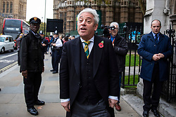 © Licensed to London News Pictures. 06/11/2018. London, UK. Speaker of the House of Commons John Bercow arrives at St Margaret's Church in Westminster for the Parliamentary Armistice Service. Photo credit: Rob Pinney/LNP