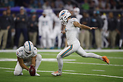 Miami Dolphins punter Matt Haack (2) and Miami Dolphins kicker Jason Sanders (7) in action during the NFL week 8 regular season football game against the Houston Texans on Thursday, Oct. 25, 2018 in Houston. The Texans won the game 42-23. (©Paul Anthony Spinelli)
