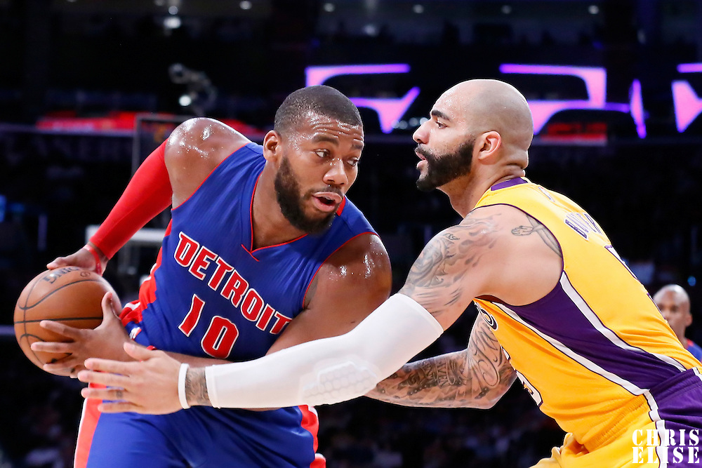 10 March 2015: Los Angeles Lakers forward Carlos Boozer (5) defends on Detroit Pistons forward Greg Monroe (10) during the Los Angeles Lakers 93-85 victory over the Detroit Pistons, at the Staples Center, Los Angeles, California, USA.