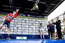 Sprint classification winner Luka Mezgec (SLO) of Orica - Scott and Mojca Novak celebrate in red jersey during trophy ceremony after the Stage 2 of 24th Tour of Slovenia 2017 / Tour de Slovenie from Ljubljana to Ljubljana (169,9 km) cycling race on June 16, 2017 in Slovenia. Photo by Vid Ponikvar / Sportida