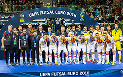 Team Spain during medal ceremony after the Final match of UEFA Futsal EURO 2018, on February 10, 2018 in Arena Stozice, Ljubljana, Slovenia. Photo by Ziga Zupan / Sportida
