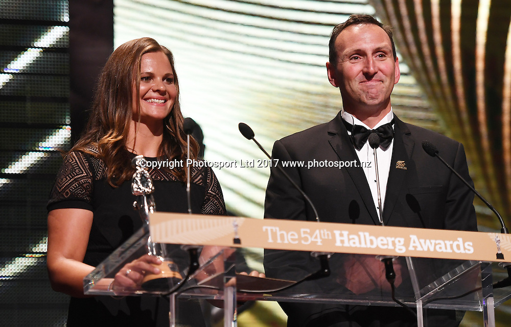 Suzie Bates and Nathan Twaddle.<br /> The 54th Halberg Awards in support of the Halberg Disability Sport Foundation. Vector Arena, Auckland, New Zealand. Thursday 9 February 2017. &copy; Copyright photo: Andrew Cornaga / www.photosport.nz
