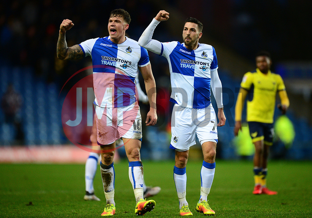 Tom Broadbent of Bristol Rovers and Liam Sercombe of Bristol Rovers celebrate at full time. - Mandatory by-line: Alex James/JMP - 10/02/2018 - FOOTBALL - Kassam Stadium - Oxford, England - Oxford United v Bristol Rovers - Sky Bet League One