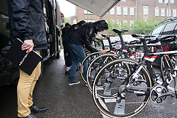 UCI inspectors check Team Sunweb bikes before Stage 4 of the OVO Energy Women's Tour - a 123 km road race, starting and finishing in Chesterfield on June 10, 2017, in Derbyshire, United Kingdom. (Photo by Balint Hamvas/Velofocus.com)