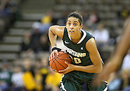 January 27 2010: Michigan St. guard Brittney Thomas (20) with the ball during the second half of an NCAA women's college basketball game at Carver-Hawkeye Arena in Iowa City, Iowa on January 27, 2010. Iowa defeated Michigan State 66-64.