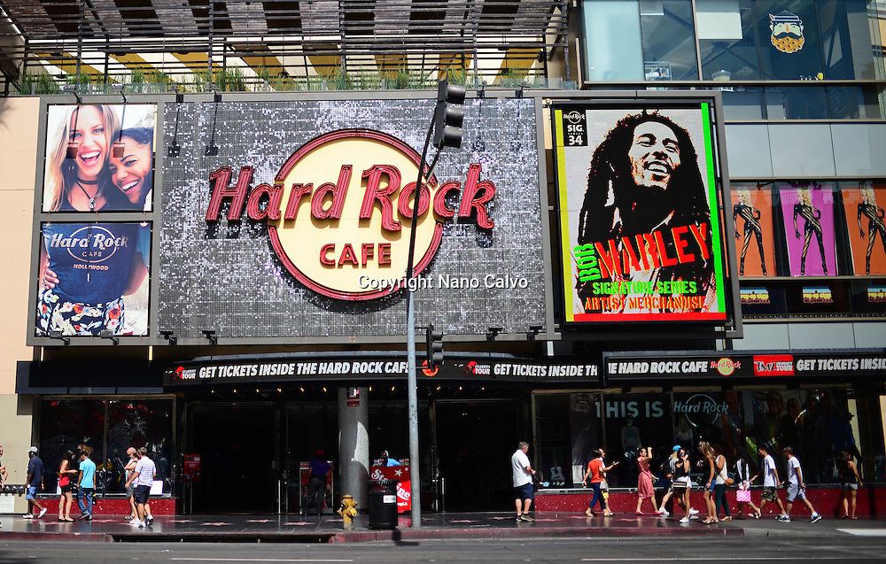 Hard Rock Cafe at Hollywood Boulevard in Los Angeles, California.