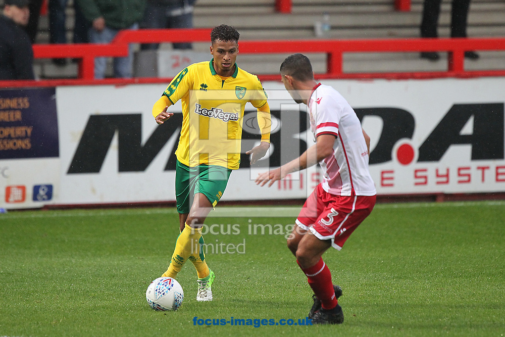 Josh Murphy of Norwich and Joe Martin of Stevenage in action during the Pre-season Friendly match at the Lamex Stadium, Stevenage<br /> Picture by Paul Chesterton/Focus Images Ltd +44 7904 640267<br /> 11/07/2017