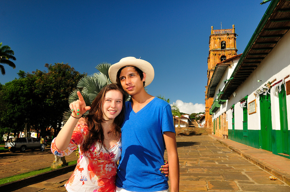 Local couple,Colonial Town Barichara,Colombia,South America<br /> Model release: 079,0180