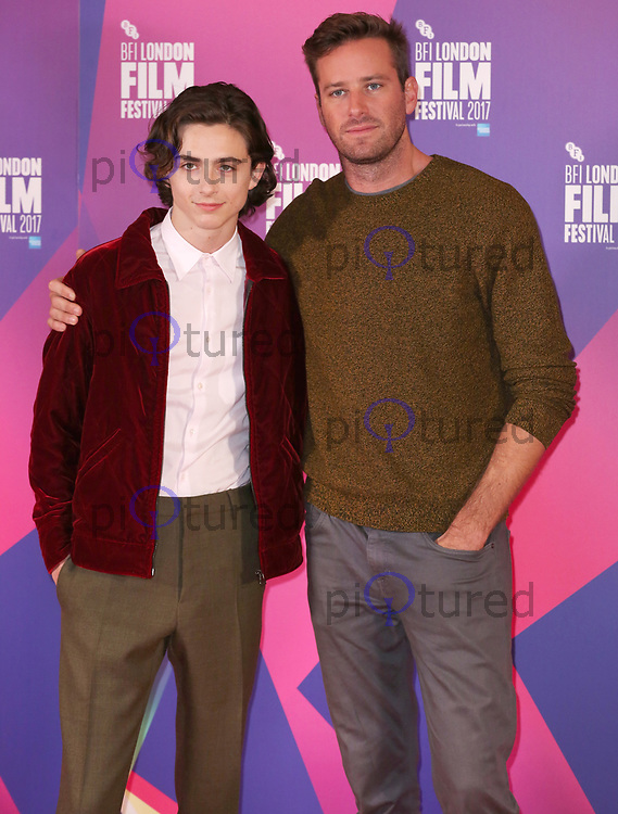 Timothée Chalamet & Armie Hammer, BFI London Film Festival Photocall - Call Me By Your Name, The May Fair Hotel, London UK, 09 October 2017, photo by Brett D. Cove