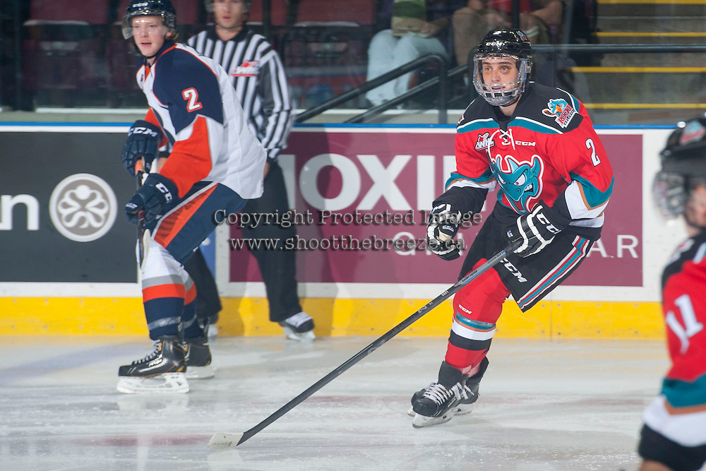 KELOWNA, CANADA - SEPTEMBER 20: Jesse Lees #2 of Kelowna Rockets skates against the Kamloops Blazers on September 20, 2014 at Prospera Place in Kelowna, British Columbia, Canada.   (Photo by Marissa Baecker/Shoot the Breeze)  *** Local Caption *** Jesse Lees;