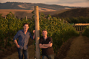 Kyle MacLachlan, (actor and wine owner) with winemaker Dan Wampfler for Pursued by Bear wine, Walla Walla, Washington