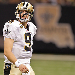 2009 September 13: New Orleans Saints quarterback Drew Brees (9) during a 45-27 win by the New Orleans Saints over the Detroit Lions at the Louisiana Superdome in New Orleans, Louisiana.