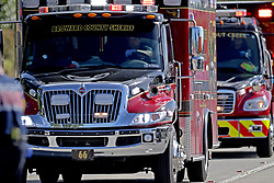 Fire rescue vehicles converge on Stoneman Douglas High School in Parkland, FL, USA after reports of an active shooter on Wednesday, February 14, 2018. Photo by John McCall/Sun Sentinel/TNS/ABACAPRESS.COM