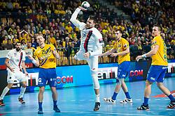 Kamil Syprzak of Paris Saint-Germain HB and Kodrin Tilen of RK Celje Pivovarna Lasko, Sarac Josip of RK Celje Pivovarna Lasko and Poteko Vid of RK Celje Pivovarna Lasko during handball match between RK Celje Pivovarna Lasko (SLO) and Paris Saint-Germain HB (FRA) in 11th Round of EHF Champions League 2019/20, on 9 February, 2020 in Arena Zlatorog, Celje, Slovenia. Photo Grega Valancic / Sportida