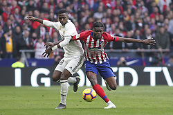 February 9, 2019 - Madrid, Madrid, Spain - Vinicius Jr. of Real Madrid and Thomas of Atletico de Madrid in action during La Liga Spanish championship, , football match between Atletico de Madrid and Real Madrid, February 09th, in Wanda Metropolitano Stadium in Madrid, Spain. (Credit Image: © AFP7 via ZUMA Wire)