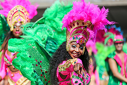 © Licensed to London News Pictures. 26/08/2019. London, UK. A dancer parades on the second day of Notting Hill Carnival in west London. Thousands of revellers take part in Notting Hill Carnival, Europe's largest street party and a celebration of Caribbean traditions and the capital's cultural diversity. Photo credit: Dinendra Haria/LNP