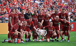 HONG KONG, CHINA - Saturday, June 8, 2019: Liverpool Legends pose with a European Cup with the number six on after an exhibition match between Liverpool FC Legends and Borussia Dortmund Legends at the Hong Kong Stadium. (Pic by Jayne Russell/Propaganda)