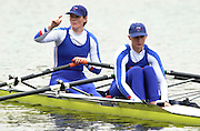 Hazenwinkel, Belgium. British Inaternational Rowing Senior trials.  11.04.2001 Photo: Peter Spurrier..W2X Lisa Eyre (R) and Alison Mowbray. ........... [Mandatory Credit; Peter Spurrier/Intersport Images] 200104  GB Rowing Senior Trails, Hazewinkel BELGIUM