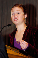 PHILADELPHIA - OCTOBER 30: Actress Julia Stiles speaks to MoveOn PAC members at a Super Rally held at the Sheet Metal Workers Union Hall October 30, 2004 in Philadelphia, Pennsylvania. Al Franken served as keynote speaker for the rally, along with Julia Stiles, Vanessa Carlton, and Jessica Lange as they campaigned for Democratic Presidential candidate Sen. John Kerry. (Photo by William Thomas Cain/Getty Images)